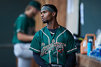 Liover Peguero (10) of the Greensboro Grasshoppers during the game against the Winston-Salem Dash at Truist Stadium on August 13, 2021 in Winston-Salem, North Carolina. (Brian Westerholt/Four Seam Images)