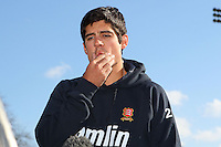 Alastair Cook of England and Essex looks thoughtful while being interviewed - Essex County Cricket Club Press Day at the Essex County Ground, Chelmsford, Essex - 02/04/13 - MANDATORY CREDIT: Gavin Ellis/TGSPHOTO - Self billing applies where appropriate - 0845 094 6026 - contact@tgsphoto.co.uk - NO UNPAID USE.