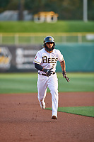 Luis Rengifo (2) of the Salt Lake Bees hustles towards third base against the Sacramento River Cats at Smith's Ballpark on August 16, 2021 in Salt Lake City, Utah. The Bees defeated the River Cats 6-0. (Stephen Smith/Four Seam Images)