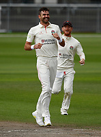 5th July 2021; Emirates Old Trafford, Manchester, Lancashire, England; County Championship Cricket, Lancashire versus Kent, Day 2; James Anderson of Lancashire dismisses Heino Kuhn of Kent to take his fifth wicket of the innings and his 1,000th first class wicket