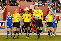 Chicago, IL - Saturday Sept. 24, 2016: Referee Matthew Franz, Assistant Referee Adrienne McDonald, Assistant Referee Maggie Short, Fourth Official Edgar Osorio prior to a regular season National Women's Soccer League (NWSL) match between the Chicago Red Stars and the Washington Spirit at Toyota Park.