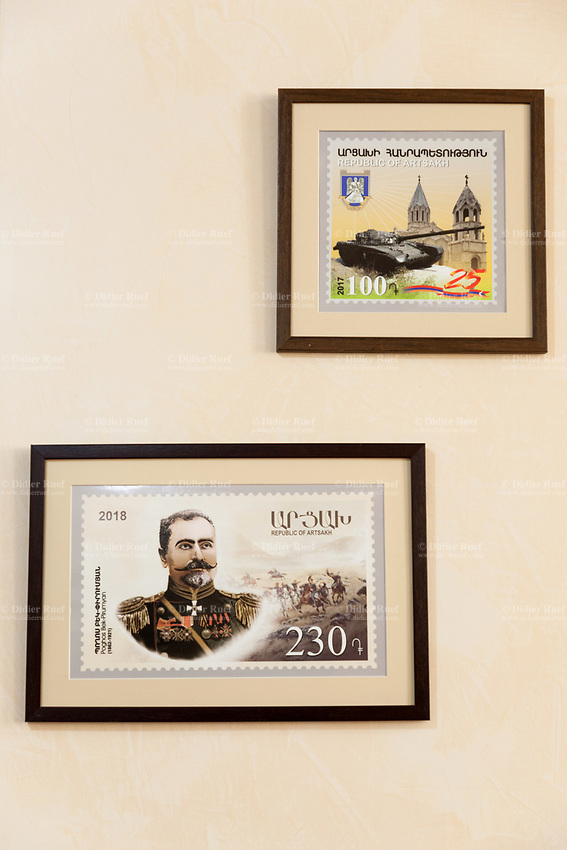 Nagorno-Karabakh, also known as Artsakh, is a landlocked region in the South Caucasus. Stepanakert is the capital and the largest city of the Republic of Artsakh (better known as Nagorno-Karabakh). Central Post Office. Central Post Office. Artsakh post stamps for sale. Top: Army and Armenian Apostolic Church. A military tank is an armoured fighting vehicle designed for front-line combat. Bottom: Poghos Bek-Pirumyan (8 June 1856 – 19 January 1921) was an Armenian military commander. He served as a colonel for the Russian Empire in World War I and was a commander of the Battle of Sardarabad. Nagorno-Karabakh is a disputed territory, internationally recognized as part of Azerbaijan, but most of the region is governed by the Republic of Artsakh (formerly named Nagorno-Karabakh Republic), a de facto independent state with Armenian ethnic population. Since 1994, regular peace talks between Armenia and Azerbaijan mediated by the OSCE Minsk Group have failed to result in a peace treaty. 7.10.2019 © 2019 Didier Ruef