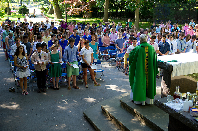 July 12, 2013; Pre-college closing mass at the Grotto. Photo by Barbara Johnston/University of Notre Dame