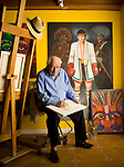 Ferdie Pacheco, Fight Doctor to Mohammed Ali photographed with his paintings in his Miami, Florida home.