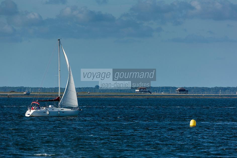 France, Gironde (33),Bassin d'Arcachon, Arcachon:  voilier et l' Ile aux Oiseaux//  France, Gironde, Bassin d'Arcachon, Arcachon: Sailboat and   Ile aux Oiseaux in the background