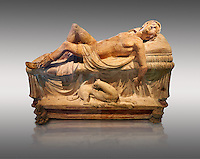 Etruscan funerary monument  known as  Adonis Dying, late 3rd century BC, made of terracotta and discovered near Tuscania, inv 14147, The Vatican Museums, Rome. Grey  Background. For use in non editorial advertising apply to the Vatican Museums for a license.