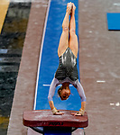 February 19, 2021: North Carolina's Elizabeth Culton competes in the vault during the 2nd Annual George McGinty Alumni Meet at the SECU Arena at Towson University in Towson, Maryland. Scott Serio/Eclipse Sportswire/CSM