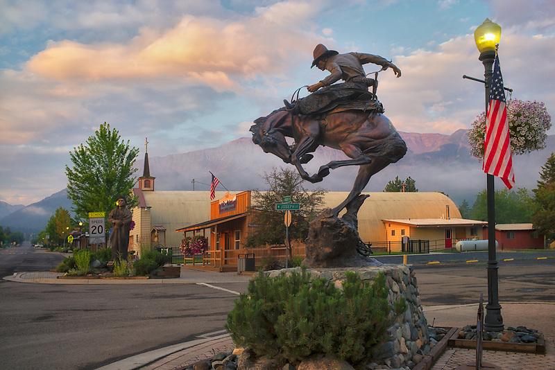 Horse rider sculpture and sunrise. Downtaown Joseph, Oregon