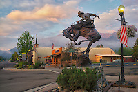 Horse rider sculpture and sunrise. Downtaown Joseph, Oregon