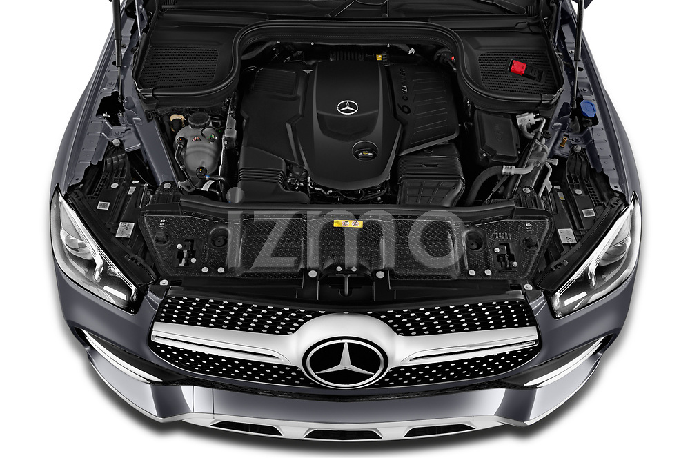 Car Stock 2020 Mercedes Benz GLE - 5 Door SUV Engine  high angle detail view