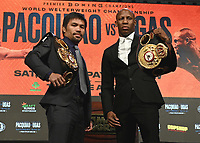 LAS VEGAS, NV - AUG 18: Manny Pacquiao and Yordenis Ugas at a press conference at the MGM Grand Garden Arena on August 18, 2021 for their upcoming Fox Sports PBC pay-per-view fight in Las Vegas, Nevada. Pacquaio vs Ugas pay-per-view will be on August 21 at T-Mobile Arena in Las Vegas. (Photo by Scott Kirkland/Fox Sports/PictureGroup)