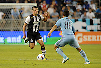 Steven Taylor Newcastle United defender drives forward... Sporting Kansas City and Newcastle United played to a scoreless tie in an international friendly at LIVESTRONG Sporting Park, Kansas City, Kansas.