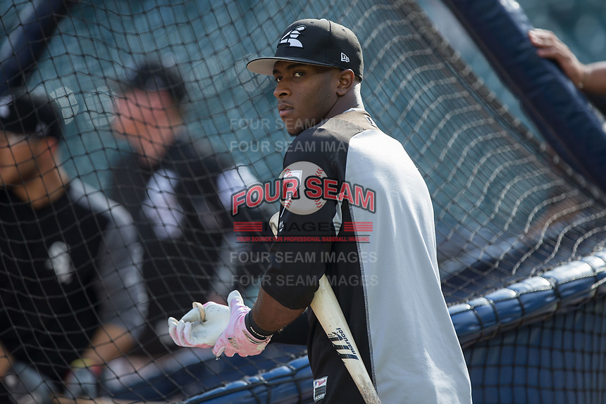Tim Anderson (7) of the Chicago White Sox waits for his turn to hit during batting practice prior to the game against the Detroit Tigers at Comerica Park on June 2, 2017 in Detroit, Michigan.  The Tigers defeated the White Sox 15-5.  (Brian Westerholt/Four Seam Images)