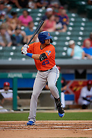 Syracuse Mets Aaron Altherr (43) bats during an International League game against the Indianapolis Indians on July 16, 2019 at Victory Field in Indianapolis, Indiana.  Syracuse defeated Indianapolis 5-2  (Mike Janes/Four Seam Images)