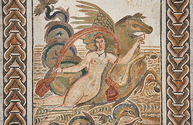 Picture of a Roman mosaics design depicting a Nymph lying on a sea horse, from the ancient Roman city of Thysdrus. 3rd century AD, House of Dolphins. El Djem Archaeological Museum, El Djem, Tunisia.