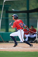 GCL Braves shortstop Livan Soto (13) follows through on a swing during a game against the GCL Pirates on July 27, 2017 at ESPN Wide World of Sports Complex in Kissimmee, Florida.  GCL Braves defeated the GCL Pirates 8-6.  (Mike Janes/Four Seam Images)