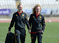 20180307 - LARNACA , CYPRUS :  Belgian Sarah Wijnants and Charlotte Tison pictured before a women's soccer game between  South Africa and the Belgian Red Flames  , on Wednesday 7 March 2018 at the GSZ Stadium in Larnaca , Cyprus . This is the final game in a decision for 5th or 6th place for Belgium during the Cyprus Womens Cup , a prestigious women soccer tournament as a preparation on the World Cup 2019 qualification duels. PHOTO SPORTPIX.BE | DAVID CATRY