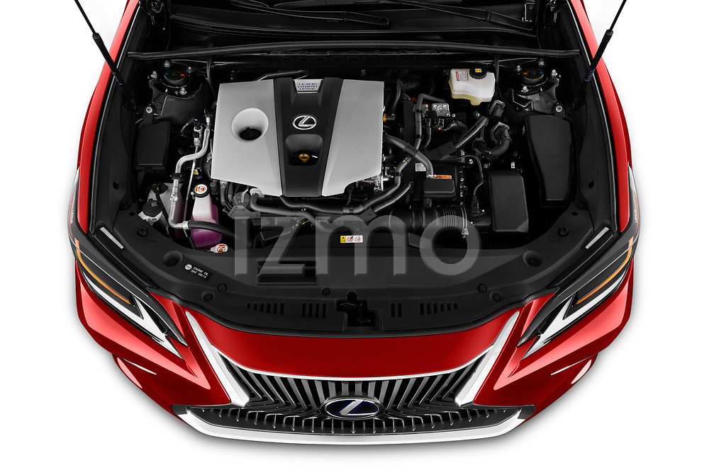 Car stock 2020 Lexus ES 300h 4 Door Sedan engine high angle detail view