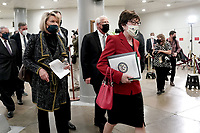 Sens. Cynthia Lummis (R-Wyo.), Roger Wicker (R-Miss.) and Susan Collins (R-Maine) arrive to the Capitol on Wednesday, February 10, 2021 for the second day of the impeachment trial of former President Donald Trump.<br /> CAP/MPI/RS<br /> ©RS/MPI/Capital Pictures