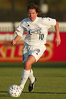 Hege Riise of the Carolina Courage brings the ball up field. Riise had an assist as the Courage defeated the Power 2-1 on Wednesday August 7th at Mitchel Athletic Complex, Uniondale, NY.