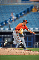 Pitcher Austin Langworthy (15) of Williston High School in Columbus, Georgia playing for the Baltimore Orioles scout team during the East Coast Pro Showcase on July 28, 2015 at George M. Steinbrenner Field in Tampa, Florida.  (Mike Janes/Four Seam Images)