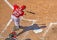 26 May 2013: Washington Nationals catcher Jhonatan Solano grounds into a fielder's choice, with Ryan Zimmerman and Adam LaRoche scoring on a throwing error by Michael Young of the Philadelphia Phillies at Nationals Park in Washington, DC. The Nationals defeated the Phillies 6-1 to take the rubber game of their 3-game weekend series. Mandatory Credit: Ed Wolfstein Photo *** RAW (NEF) Image File Available ***