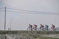Early break away group hitting the Moeren. <br /> <br /> 81st Gent-Wevelgem in Flanders Fields (1.UWT)<br /> Deinze > Wevelgem (251km)