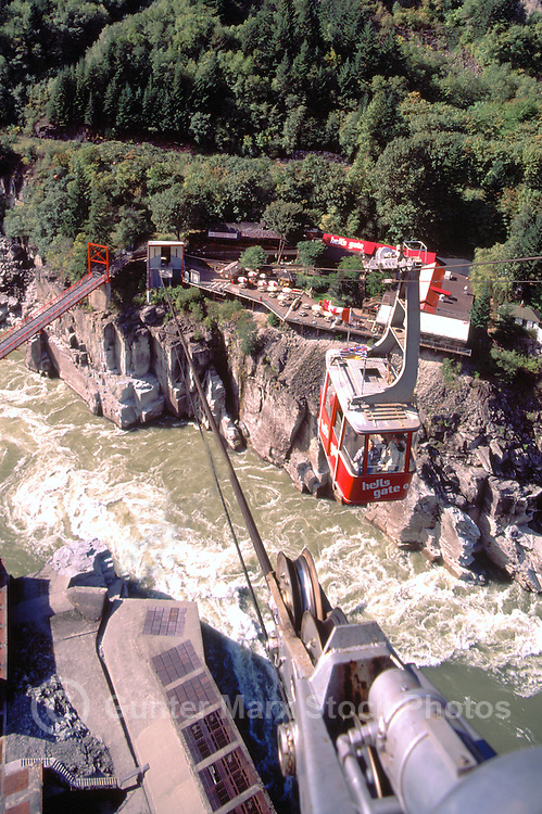 Hell's Gate, Fraser Canyon, BC, British Columbia, Canada - Suspension Bridge and Airtram over Fraser River, Observation Deck, and Fish Ladder / Fishway