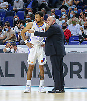 13th October 2021; Wizink Center; Madrid, Spain; Turkish Airlines Euroleague Basketball; game 3; Real Madrid versus AS Monaco;  Nigel Williams-Goss and Pablo Laso coach (Real Madrid Baloncesto) speak during the first half