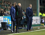 Hibs v St Johnstone…18.11.17…  Easter Road…  SPFL<br />Neil Lennon goes nuts<br />Picture by Graeme Hart. <br />Copyright Perthshire Picture Agency<br />Tel: 01738 623350  Mobile: 07990 594431
