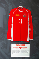 Ryan Giggs' 2002/04 Wales home shirt is displayed at The Art of the Wales Shirt Exhibition at St Fagans National Museum of History in Cardiff, Wales, UK. Monday 11 November 2019