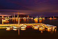 Bernard harbor at night, Maine, USA