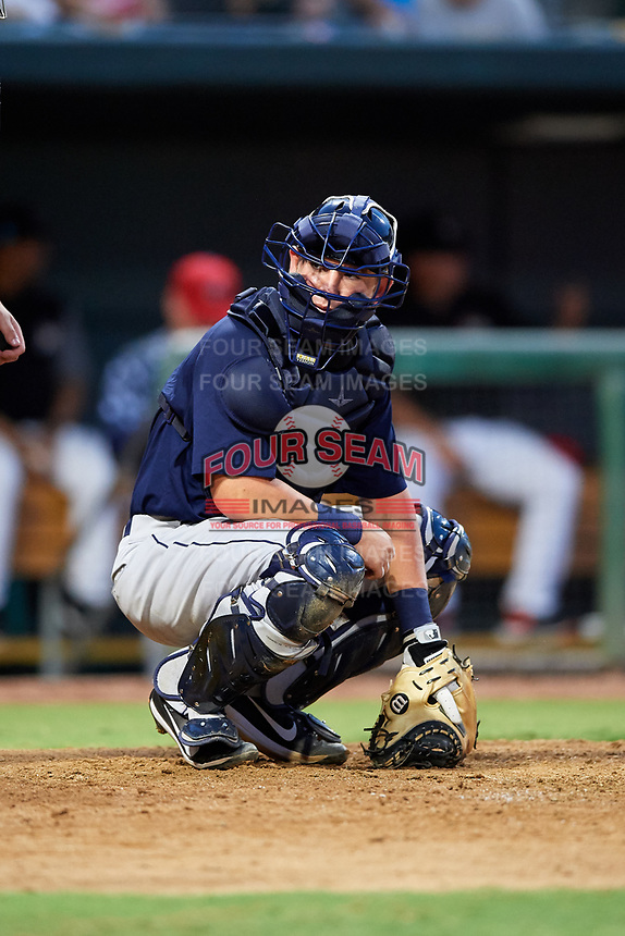Mobile BayBears catcher Michael Barash (16) looks into the dugout during a game against the Jacksonville Jumbo Shrimp on April 14, 2018 at Baseball Grounds of Jacksonville in Jacksonville, Florida.  Mobile defeated Jacksonville 13-3.  (Mike Janes/Four Seam Images)