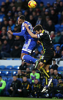 Kenneth Zohore of Cardiff City challenges Russell Martin(captain) of Norwich City during the Sky Bet Championship match between Cardiff City and Norwich City at Cardiff City Stadium, Wales, UK. Saturday, 04 February 2017
