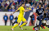 """Foxborough, Massachusetts - May 15, 2019: In """"Final Whistle on Hate"""" charity match, Chelsea FC (yellow) vs New England Revolution (blue/white), 3-0, at Gillette Stadium on May 15, 2019 in Foxborough, Massachusetts. (Photo by Andrew Katsampes/ISI Photos)."""