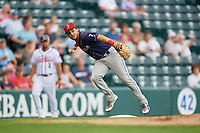 Binghamton Rumble Ponies third baseman Michael Paez (7) throws to first base during an Eastern League game against the Richmond Flying Squirrels on May 29, 2019 at The Diamond in Richmond, Virginia.  Binghamton defeated Richmond 9-5 in ten innings.  (Mike Janes/Four Seam Images)