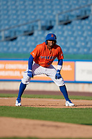 Syracuse Mets Rajai Davis (21) leads off during an International League game against the Charlotte Knights on June 11, 2019 at NBT Bank Stadium in Syracuse, New York.  Syracuse defeated Charlotte 15-8.  (Mike Janes/Four Seam Images)