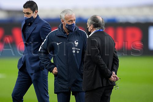17th November 2020; Stade de France, Paris,  France; UEFA National League international football, France versus Sweden;  Didier Deschamps - traineur (France) speaks with Noel Le Graet President of the FFF
