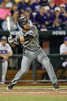 Vanderbilt Commodores first baseman Zander Wiel (43) swings the bat during the NCAA College baseball World Series against the TCU Horned Frogs on June 16, 2015 at TD Ameritrade Park in Omaha, Nebraska. Vanderbilt defeated TCU 1-0. (Andrew Woolley/Four Seam Images)