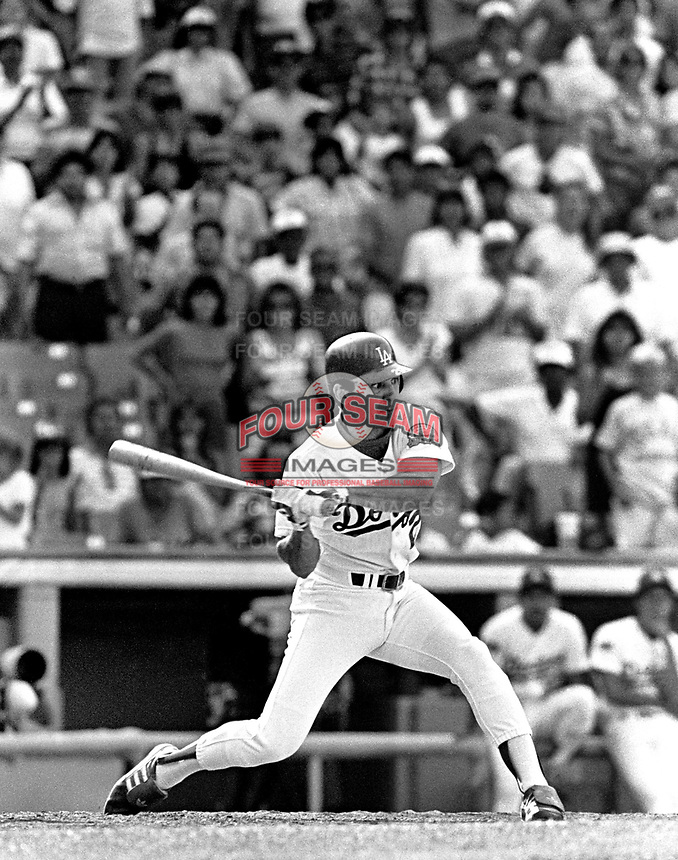 Los Angeles Dodgers catcher Alex Trevino #29 during a game against the New York Mets at Dodger Stadium during the 1987 season in Los Angeles,California.(Larry Goren/Four Seam Images)