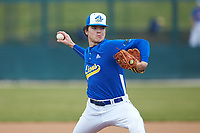 Mars Hill Lions starting pitcher Max Poole (47) in action against the Queens Royals at Intimidators Stadium on March 30, 2019 in Kannapolis, North Carolina. The Royals defeated the Bulldogs 11-6 in game one of a double-header. (Brian Westerholt/Four Seam Images)