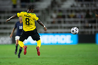 ORLANDO, FL - JULY 20: Oniel Fisher #8 of Jamaica heads the ball during a game between Costa Rica and Jamaica at Exploria Stadium on July 20, 2021 in Orlando, Florida.