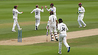 Somerset bowler, Jack Leach, celebrates taking the wicket of Surrey batsman, Mark Stoneman during Surrey CCC vs Somerset CCC, LV Insurance County Championship Group 2 Cricket at the Kia Oval on 13th July 2021
