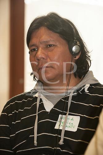 Washington DC, USA. Chico Vive conference, 4th April 2014. Conference speaker Hiparidi Top'tiro, Xavante tribal leader, Brazil.