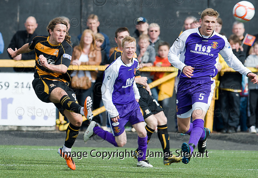 Alloa's Steven May shoots wide.