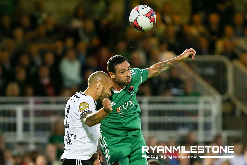 Damien Delaney of Cork City in action against Tore Reginiussen of Rosenborg during the UEFA Europa League Third Qualifying Round First Leg game between Cork City and Rosenborg, on Thursday 9th August 2018, at Turners Cross, Cork. Photo By: Michael P Ryan.