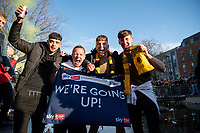 24th April 2021; Vicarage Road, Watford, Hertfordshire, England; English Football League Championship Football, Watford versus Millwall; Watford supporters congregate at the pond in the town centre as is tradition whenever the club are promoted.