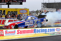 Apr 10, 2015; Las Vegas, NV, USA; NHRA funny car driver Robert Hight during qualifying for the Summitracing.com Nationals at The Strip at Las Vegas Motor Speedway. Mandatory Credit: Mark J. Rebilas-