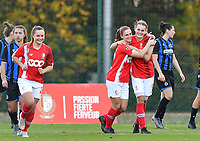 Standard's Sylke Calleeuw pictured celebrating with Standard's Elien Nelissen after scoring a goal during a female soccer game between Standard Femina de Liege and Club Brugge YLA on the seventh matchday of the 2020 - 2021 season of Belgian Scooore Womens Super League , saturday 14 th of November 2020  in Angleur , Belgium . PHOTO SPORTPIX.BE | SPP | DAVID CATRY