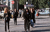 Bucharest, Romania. Street scene; people on a busy city street; pedestrians.